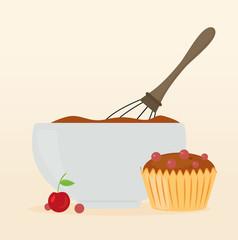 Muffin Kirsch und Rührschüssel Backen