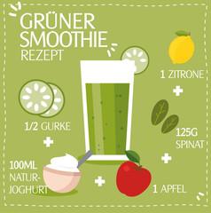 Grüner Smoothie Rezept mit Zutaten Vektor