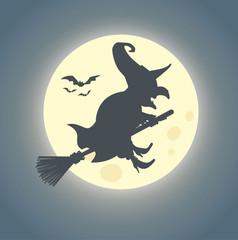 Halloween Hexe auf Hexenbesen reitet im Mondschein - Vektor