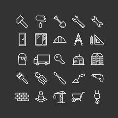 Set of outline construction and building icons. Thin linear icons  for web, print, mobile apps