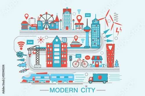 Modern Modern Smart City Graphic Flat Line Design Style Infographics