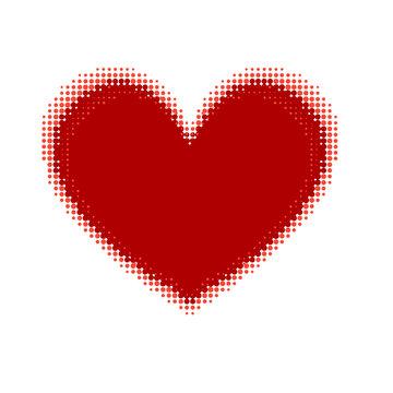 halftone red heart stylish heart design element vector