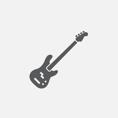 bass guitar icon vector, solid logo illustration, pictogram isolated on white