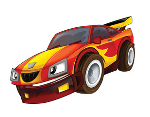 Cartoon fast car - isolated - illustration for the children
