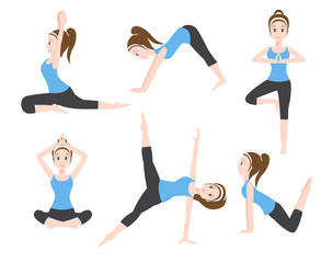 yoga charector 6 set , traditional normal yoga style , vector , 2nd version