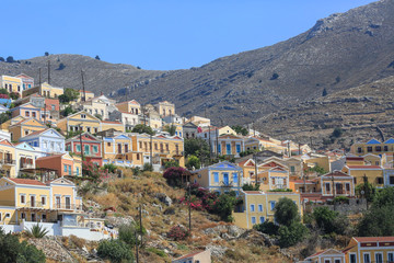 Colorful houses , the small town Symi, Greece