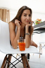 Healthy Diet. Woman Drinking Fresh Juice. Weight Loss Nutrition