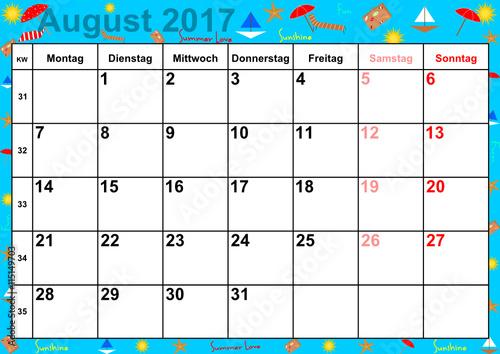 kalender 2017 monat august mit feiertagen f r deutschland auf buntem hintergrund mit. Black Bedroom Furniture Sets. Home Design Ideas