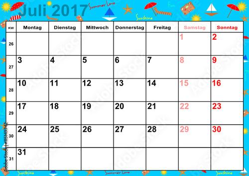 kalender 2017 monat juli mit feiertagen f r deutschland auf buntem hintergrund mit sommerlichen. Black Bedroom Furniture Sets. Home Design Ideas