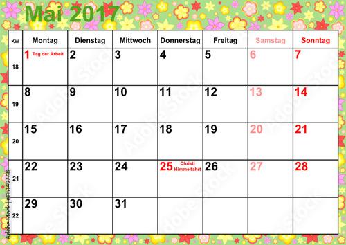 Kalender 2017 Monat Mai mit