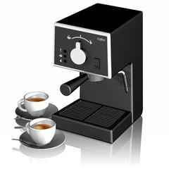 Tazzine caffè e Macchina caffè su sfondo bianco.