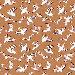Doodle seamless pattern with birds silhouettes. Vector illustration