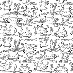 summer seamless pattern with crab and waves, black and white doodle vector illustration