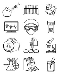 Vector science and genetic laboratory icons set