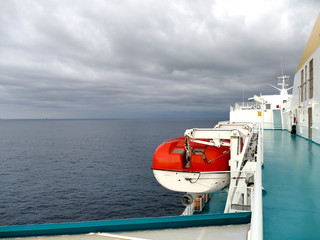 Life boat handling gear - winch of big vessel