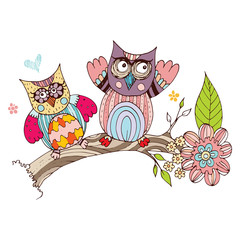 Owl Doodle with Flower Vector