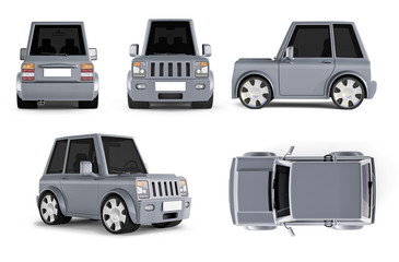 3d illustrations of gray cartoon car - side, top, rear, perspective views,