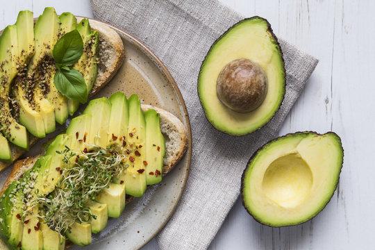 Avocado on toast with cress