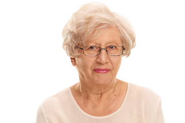 Elderly lady with glasses