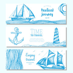Sea set. Nautical elements horizontal banner collection. Vector illustration drawn in ink.