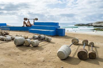 Rustic weights at outdoor workout station at Arpoador, the rock between Ipanema and Copacabana Beaches