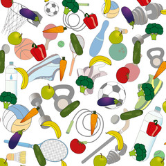 fruits and vegetables for a healthy lifestyle against the background of sports accessories