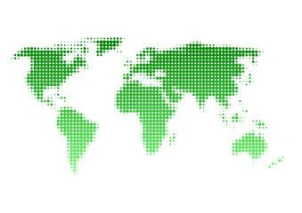 世界地図 ドット イラスト 緑 グラデーション