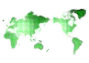 世界地図 ドット イラスト 緑 グラデーション(日本中心)