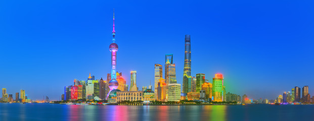 Beautiful night Shanghai's cityscape with the city lights on the Huangpu River, Shanghai, China