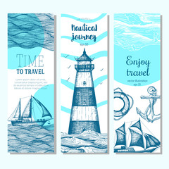 Sea set. Nautical elements vertical banner collection. Vector illustration drawn in ink.