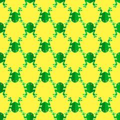 Seamless Cartoon Frog Pattern. Animal Yellow Background