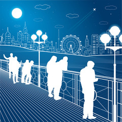 City scene, people watching from the bridge to the city's skyline, street life, ferris wheel, night town in background, vector design art