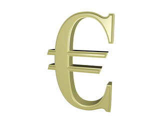 Euro sign isolated on white, 3d illustration