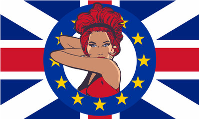 Beauty woman on Britain flag vector pic