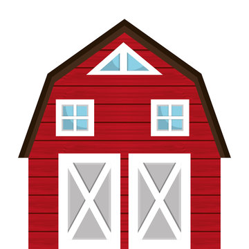 Red farm barn building, isolated icon graphic design.