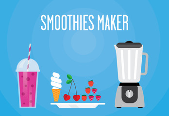 Modern blender with a berry smoothie