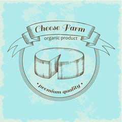 Logo Cheese Farm in vintage style. Premium quality. Vector label