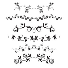 Flower dividing line, Hand drawn flower line border