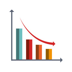 Financial decrease statistics isolated icon graphic design, vector illustration.