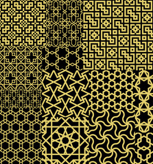 Set Twelve Gold Seamless patterns in Moroccan style