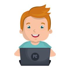 Kid using a laptop computer colorful cartoon design, vector illustration.
