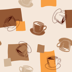 Coffee cup brown beige orange seamless pattern illustration vector