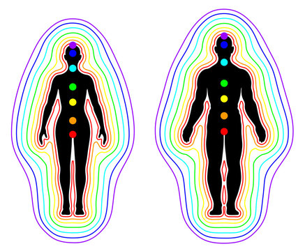Human aura and chakras on white background - vector illustration