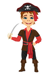Cute kid in pirate costume holding a sword