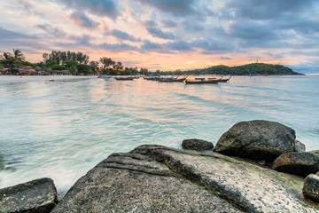Holiday in Thailand - Beautiful Island of Koh Lipe stormy sunrise and sunset by the beach