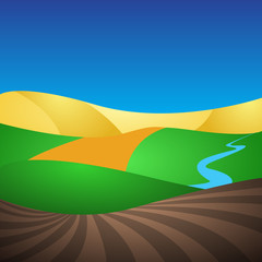 Vector nature landscape with fields, leas, river. Simple style illustration - countryside view