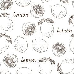 Seamless lemon pattern with text, vector