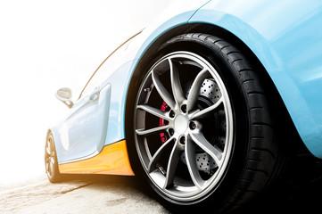 Back of a blue sport car