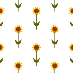 Vector seamless pattern with yellow sunflowers on white background.