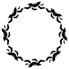 Round frame with silhouettes of flying bats. Original background for greeting cards, invitations, prints.Vector clip art.